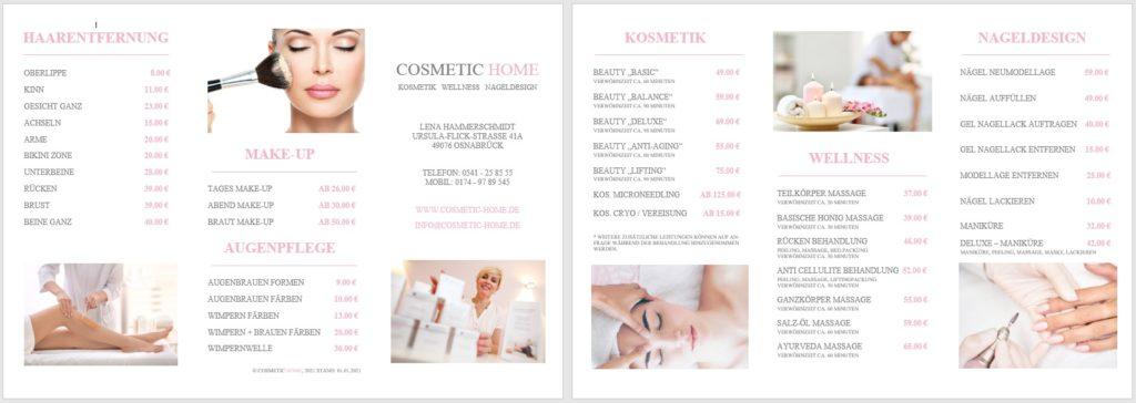 cosmetic home Preisliste cosmetic home Kosmetikstudio und Nagelstudio in Osnabrück